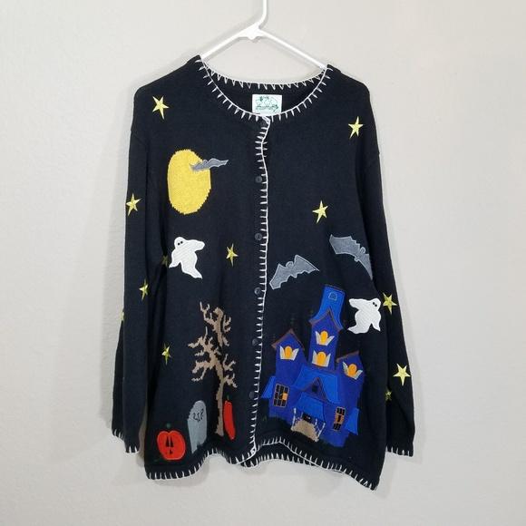 Vintage Sweaters Plus Size Halloween Button Up Cardigan Poshmark